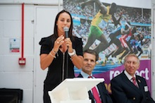 Watford Grammar School for Girls students receive Inspire-Aspire awards from olympic medal-winner Beth Tweddle